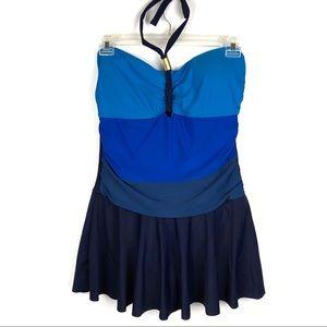 Other - Blue Multicolor Halter One Piece Swim Dress XL